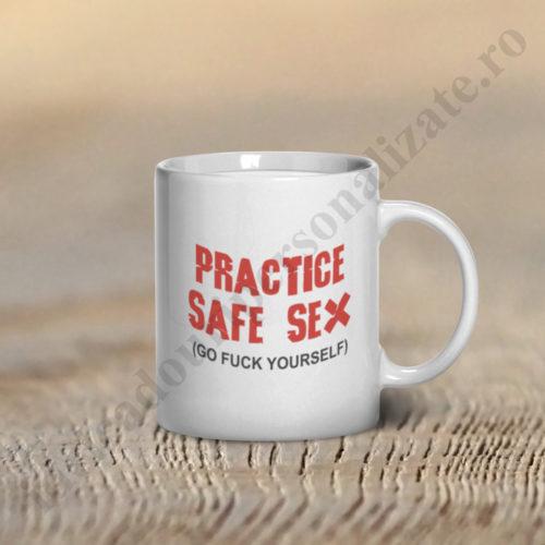 Cana amuzanta Practice Safe Sex, cana amuzanta, cani personalizate, cani personalizate amuzante