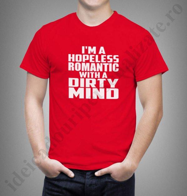 tricouri pentru el si ea, idei cadouri personalizate, Tricou indragostiti hopeless romantic