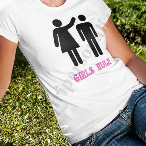 Tricou personalizat Girls Rule, tricouri personalizate cupluri