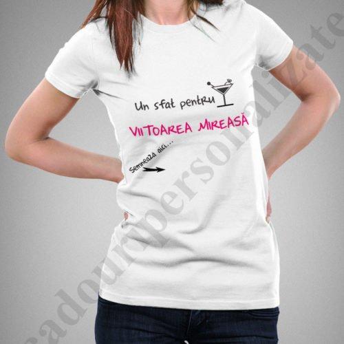 Tricou personalizat Sfat pentru Mireasa, tricouri personalizate burlacite, idei cadouri personalizate