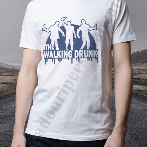 tricou personalizat the walking drunk alb, tricouri personalizate alcoolici, idei cadouri personalizate