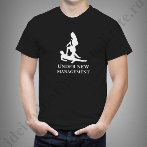 tricou personalizat under new management, tricouri pentru burlaci, idei cadouri personalizate