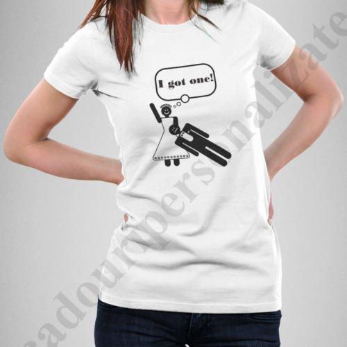 tricouri personalizate pentru burlacite, idei cadouri personalizate, Tricou personalizat i got one