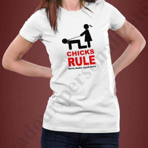 Tricouri imprimate Chicks Rule, tricouri amuzante pentru ea, idei cadouri personalizate