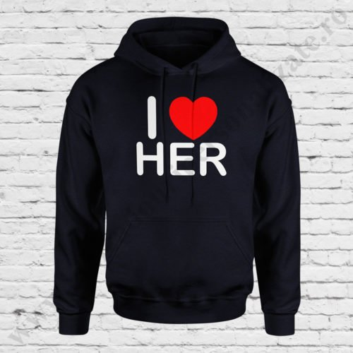 Hanorac barbati Love Her, Hanorac dama Love Him, Hanorace cupluri, hanorace barbati, hanorace dama, idei cadouri personalizate