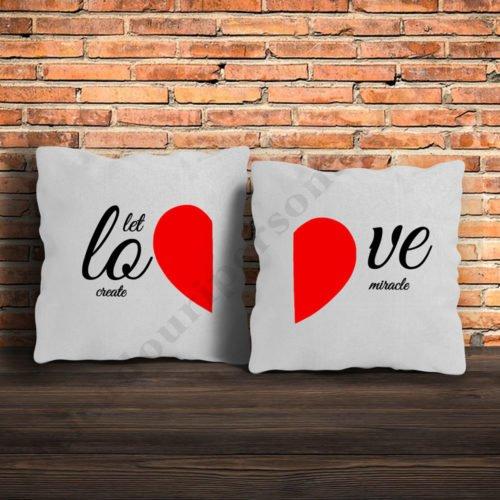 Perne pereche LOVE, perne personalizate, Idei cadouri personalizate