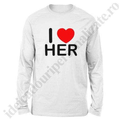Bluza barbati Love Her, Bluza dama Love Him, bluze, bluze cupluri, bluze barbati, bluze dama, idei cadouri personalizate