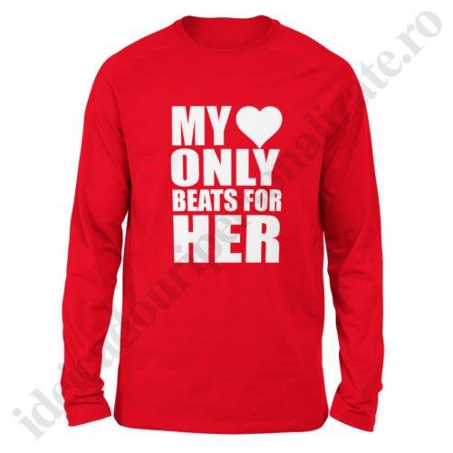 Bluza barbati Heart Beats, bluze cupluri, bluze barbati, idei cadouri personalizate