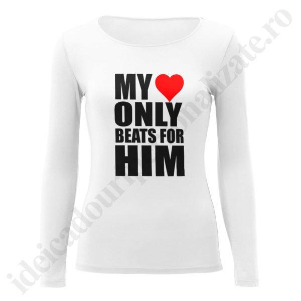 Bluza dama Heart Beats, bluze cupluri, bluze dama, idei cadouri personalizate