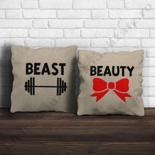 Perne canepa Beauty Beast, perne personalizate cupluri, idei cadouri personalizate