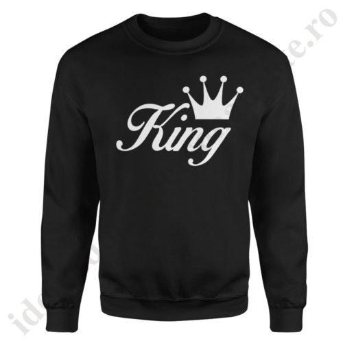 Pulover barbat King, pulovere cupluri, sweatshirt barbati, idei cadouri personalizate