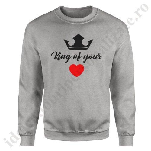 Pulover barbat King of, pulovere cupluri, sweatshirt barbati, idei cadouri personalizate