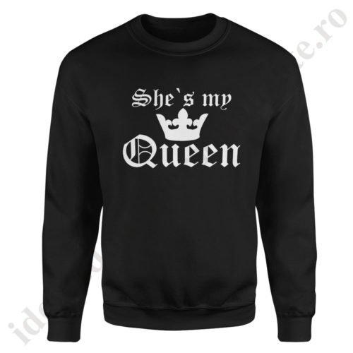 Pulover barbat My Queen, pulovere cupluri, sweatshirt barbati, idei cadouri personalizate