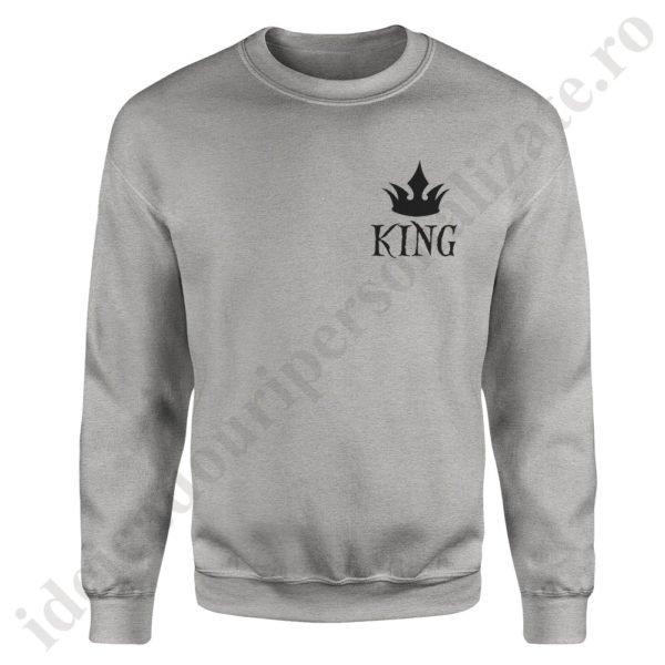 Pulover barbat cu King, pulovere cupluri, sweatshirt barbati, idei cadouri personalizate