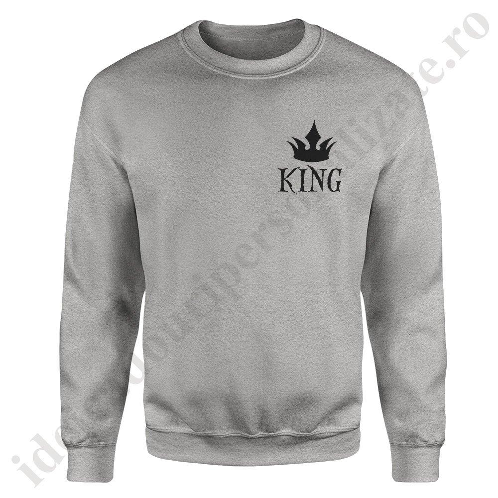 cumpara cel mai bine cum să cumpere Adidași 2018 Pulover cupluri cu King - Sweatshirt cu design modern, minimalist