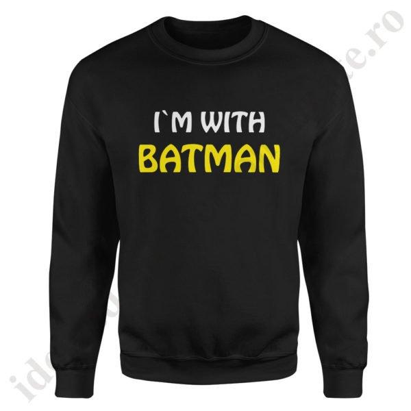 Pulover dama Batman, pulovere cupluri, sweatshirt dame, idei cadouri personalizate