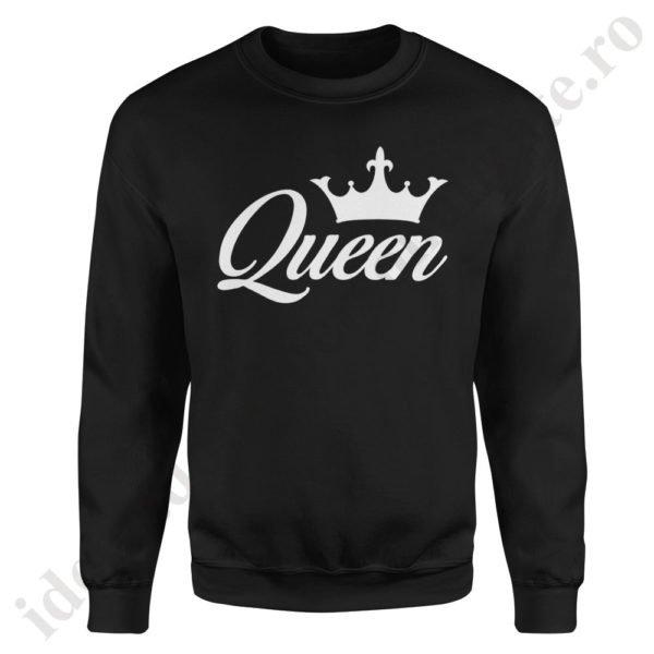 Pulover dama Queen, pulovere cupluri, sweatshirt dame, idei cadouri personalizate