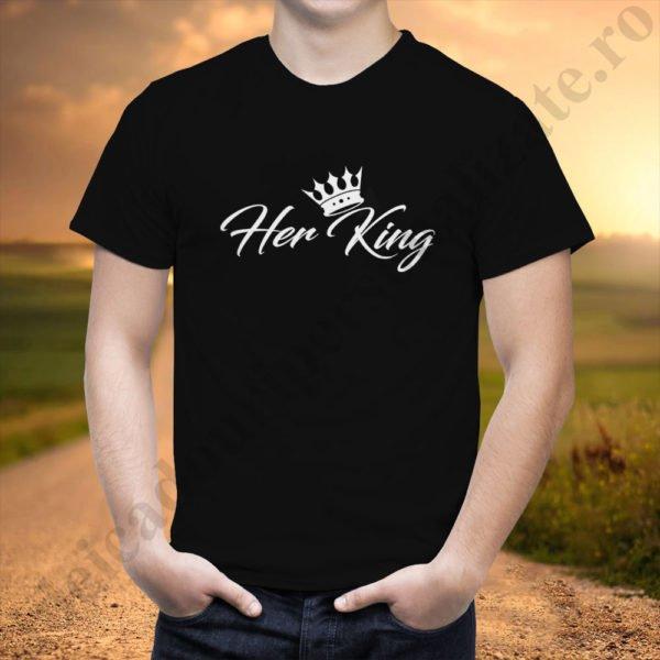 Tricou barbati Her King, tricouri cupluri, tricouri barbati, idei cadouri personalizate