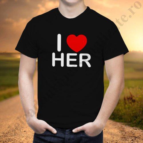Tricou barbati Love Her, tricouri cupluri, tricouri barbati, idei cadouri personalizate