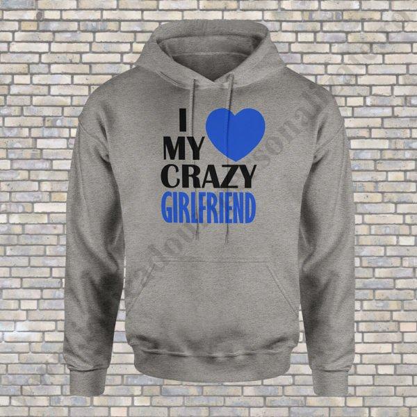 Hanorac barbati Love Crazy, hanorace cupluri, hanorace barbati, idei cadouri personalizate