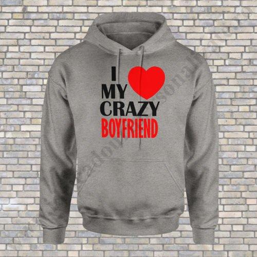 Hanorac dama Love Crazy, hanorace cupluri, hanorace dama, idei cadouri personalizate
