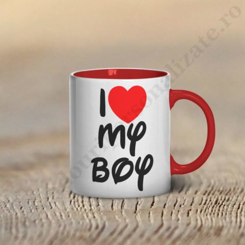 Cana Love my Boy, cani cupluri, cani personalizate pentru cupluri, idei cadouri personalizate