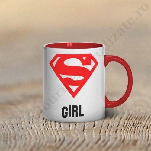 Cana Super Girl, cani cupluri, cani personalizate pentru cupluri, idei cadouri personalizate