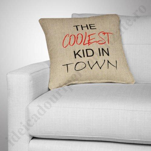 Perna canepa Coolest Kid, Perne personalizate pentru copii, perne copii, idei cadouri personalizate