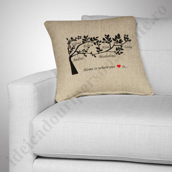 Perna canepa Family Tree, Perne personalizate pentru copii, perne copii, idei cadouri personalizate