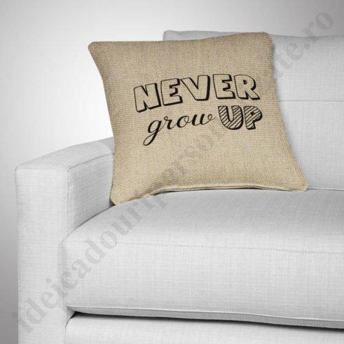 Perna canepa Never Grow, Perne personalizate pentru copii, perne copii, idei cadouri personalizate