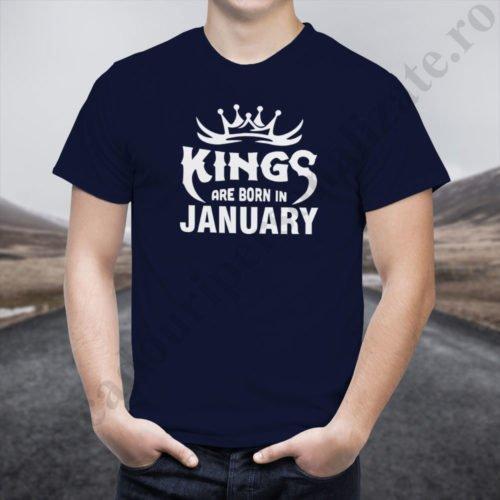 Tricou Kings January, tricouri aniversare, idei cadouri personalizate