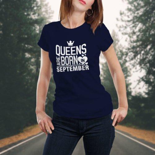 Tricou Queens September, tricouri aniversare, idei cadouri personalizate