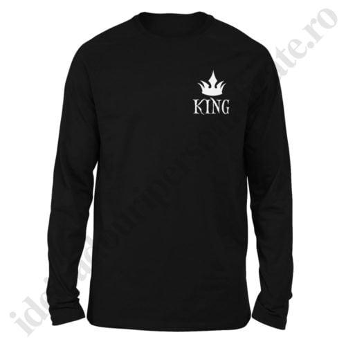 Bluza barbati cu King, Bluza dama cu Queen, bluze, bluze cupluri, bluze barbati, bluze dama, idei cadouri personalizate
