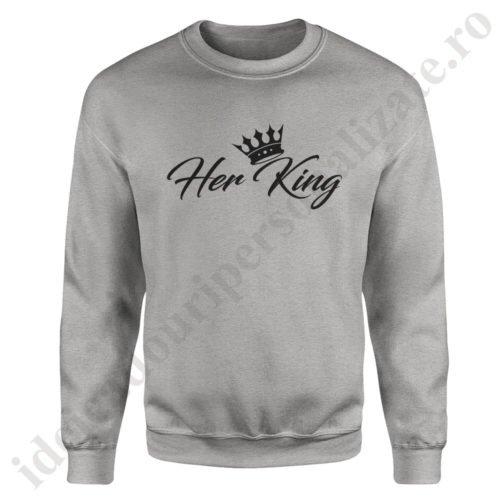 Pulover barbat Her King, pulovere cupluri, sweatshirt barbati, idei cadouri personalizate