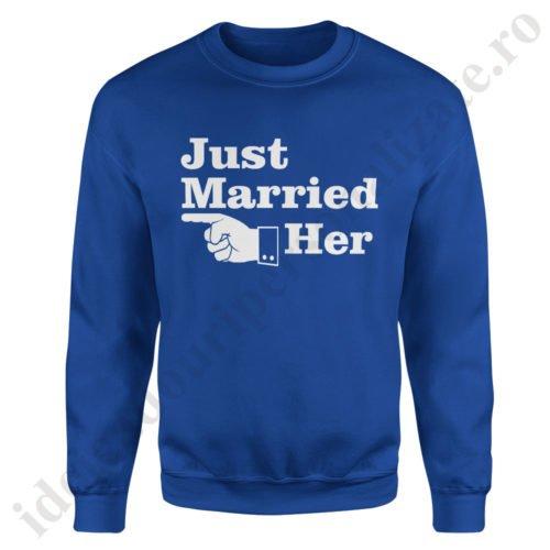 Pulover barbat Just Married, pulovere cupluri, sweatshirt barbati, idei cadouri personalizate