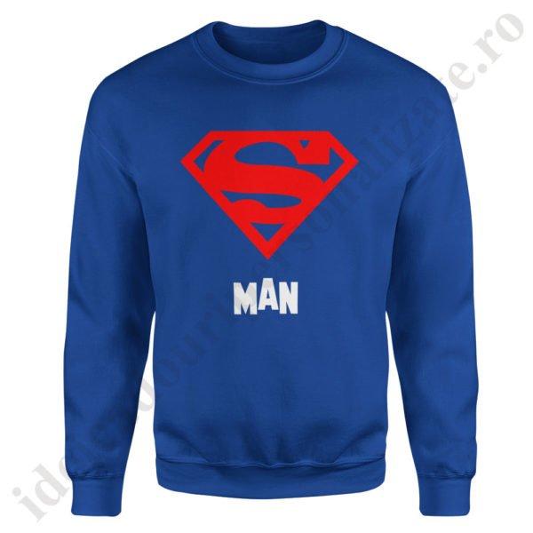 Pulover barbat Superman, pulovere cupluri, sweatshirt barbati, idei cadouri personalizate