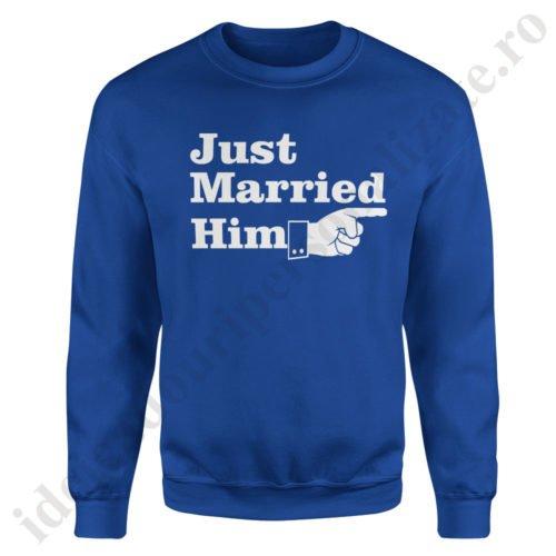 Pulover dama Just Married, pulovere cupluri, sweatshirt dame, idei cadouri personalizate
