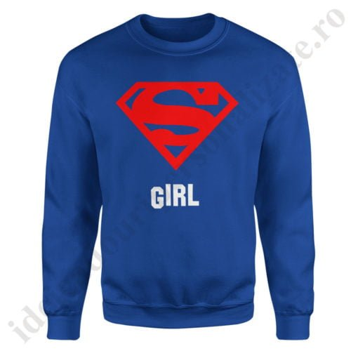 Pulover dama Supergirl, pulovere cupluri, sweatshirt dame, idei cadouri personalizate