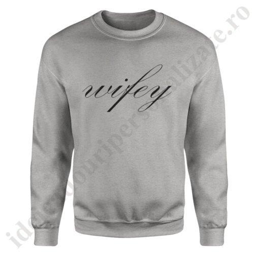 Pulover dama Wifey, pulovere cupluri, sweatshirt dame, idei cadouri personalizate