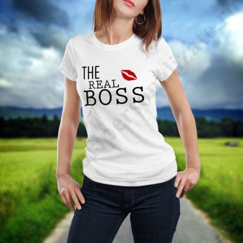 Tricou cupluri Real Boss, tricouri cupluri, idei cadouri personalizate