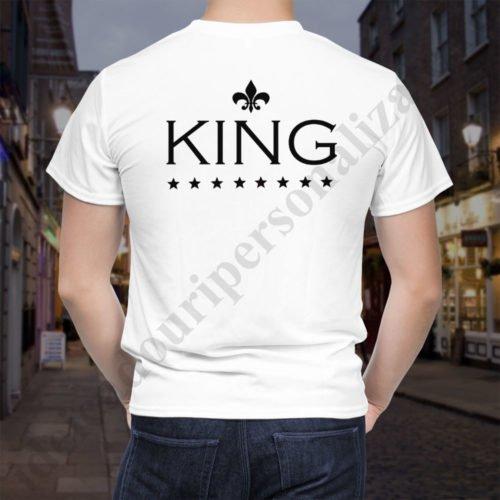 Tricou cupluri The King, tricouri personalizate, idei cadouri personalizate