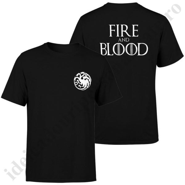 Tricou Fire and Blood - Barbat, tricouri game of thrones, idei cadouri personalizate