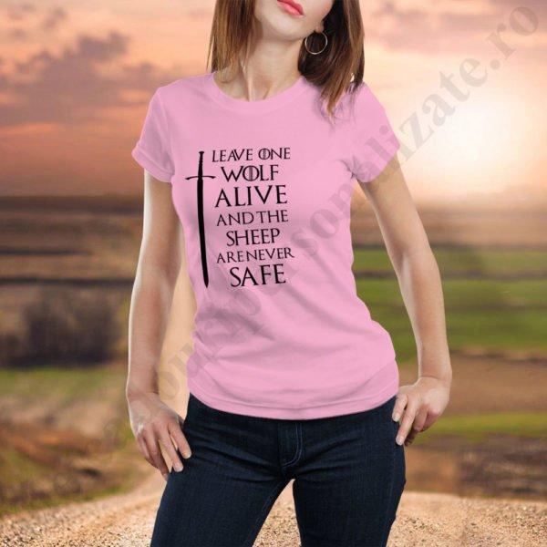 Tricou GoT Wolf Alive - Dama, tricouri game of thrones, idei cadouri personalizate