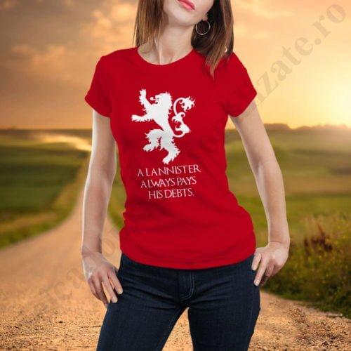 Tricou House Lannister - Dama, tricouri game of thrones, idei cadouri personalizate