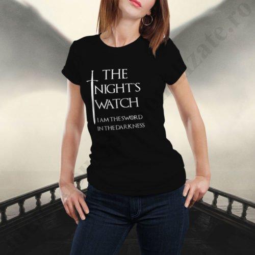 Tricou Rondul de Noapte - Dama, tricouri game of thrones, idei cadouri personalizate